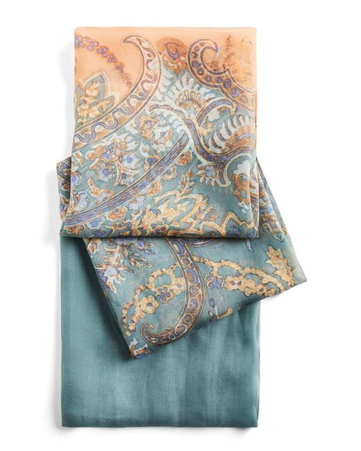 BCBGMAXAZRIA - Blue Paisley Broder Wrap Scarf - Lyst
