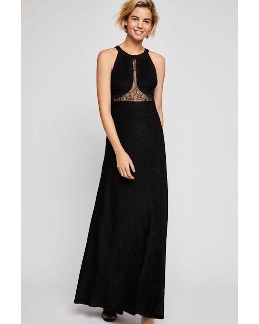 Lyst Bcbgeneration Metallic Lace Inset Maxi Dress In Black