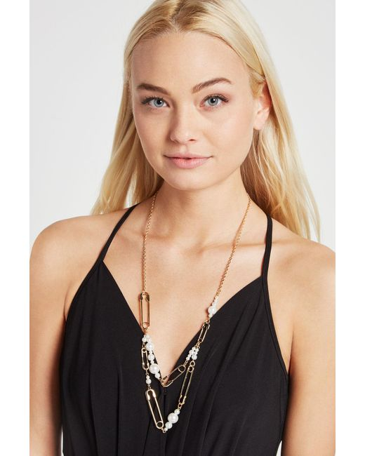 BCBGeneration - Metallic Faux-pearl Safety Pin Necklace - Lyst