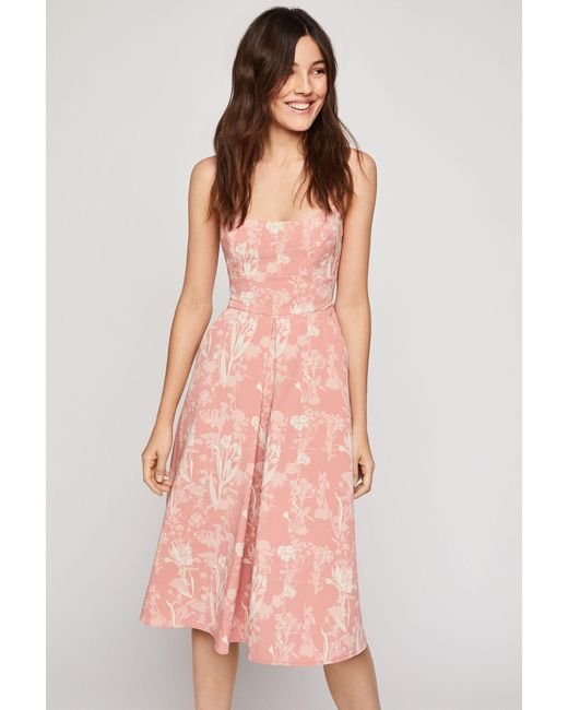 1d2efeca98a1d BCBGeneration Strappy Floral Midi Dress in Pink - Save 30% - Lyst