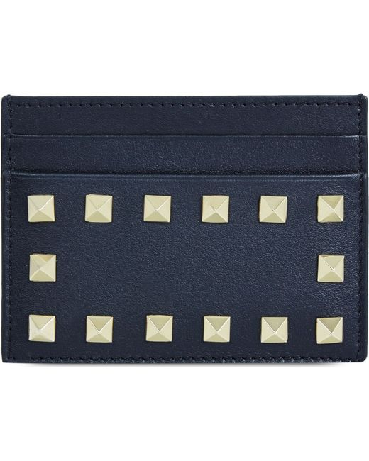Valentino | Blue Studded Card Holder | Lyst