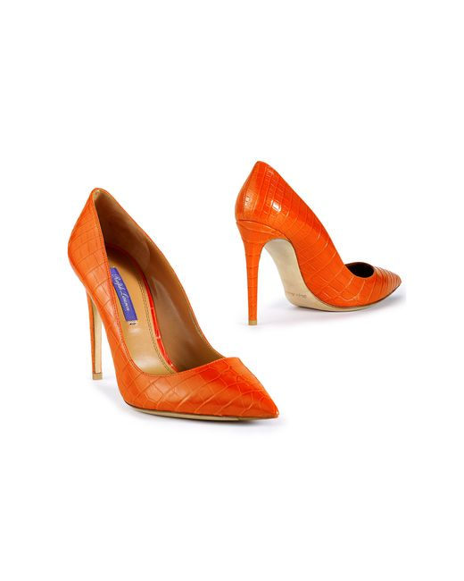 Pink Pony | Orange Alligator Celia Pump | Lyst