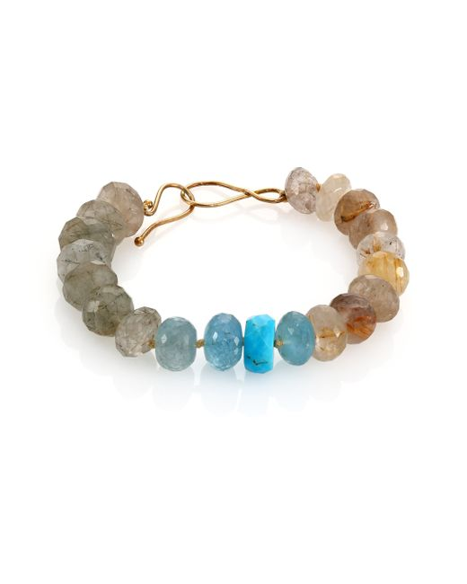Lena Skadegard | Multicolor Turquoise, Rutilated Quartz & Aquamarine Beaded Bracelet | Lyst