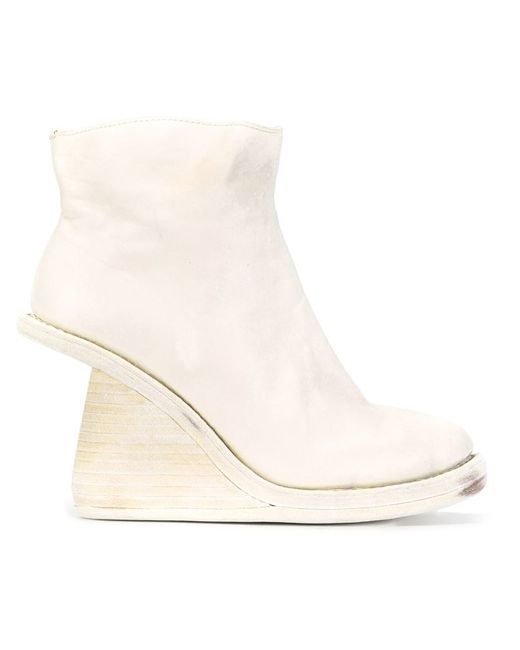 guidi asymmetric wedge boots in white lyst