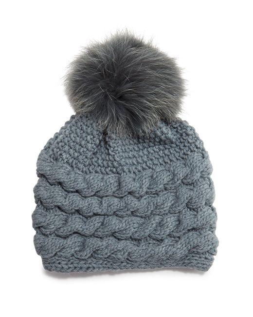 Inverni Cashmere Cable-knit Beanie Hat W/fur Pom Pom in ...
