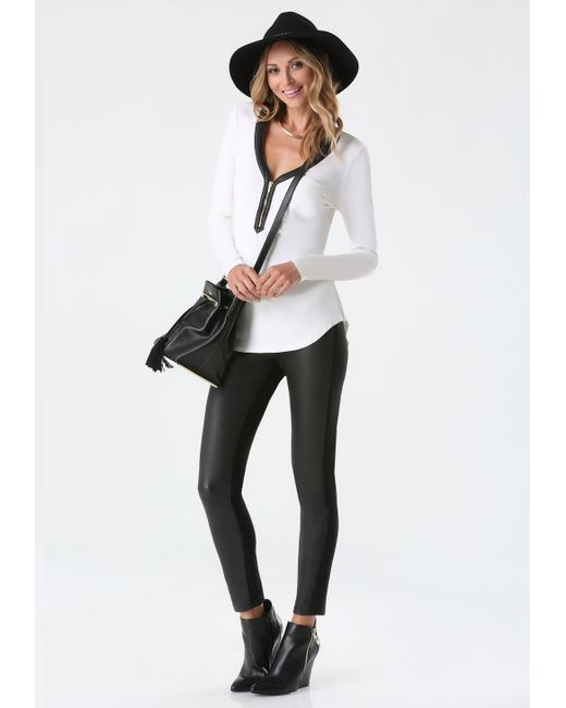 Bebe | White Zip Henley Top | Lyst