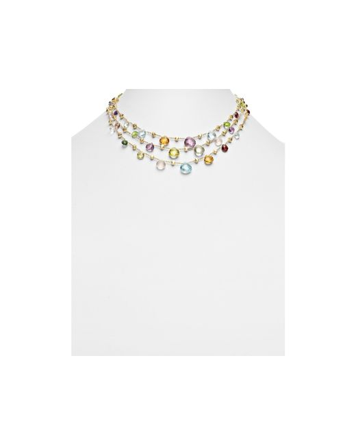 Marco Bicego | Multicolor 18k Yellow Gold Paradise Three Strand Mixed Stone Necklace, 16.5"