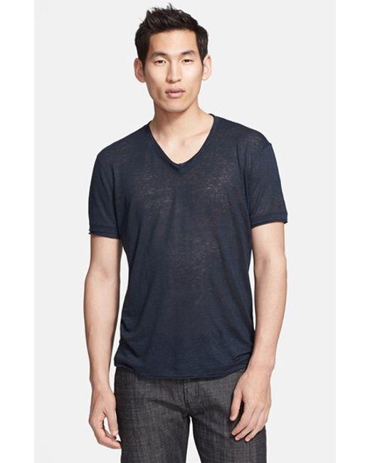 John Varvatos | Blue Striped Slub Jersey T-shirt for Men | Lyst