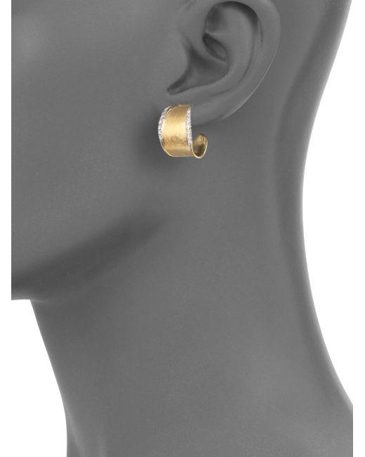 Marco Bicego   Metallic Lunaria Diamond & 18k Yellow Gold Hoop Earrings/1   Lyst