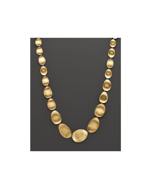 Marco Bicego | Metallic 18k Yellow Gold Engraved Lunaria Necklace, 16"