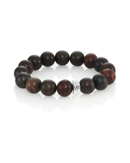 Nest | Brown Ebony Wood Logo Beaded Stretch Bracelet | Lyst