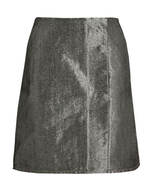 k 233 ji metallic denim skirt in silver lyst