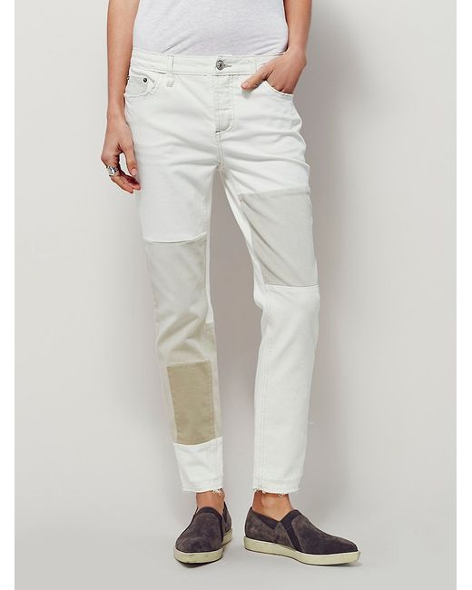 Free People   White Jax Patched Skinny   Lyst
