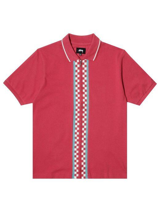 Stussy - Red Julian Full Zip Polo for Men - Lyst