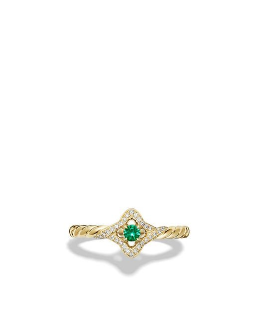 David Yurman | Green Venetian Quatrefoil Ring With Emerald And Diamonds In 18k Gold | Lyst