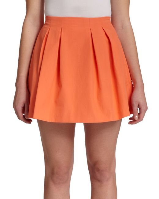 parson pleated mini skirt in orange coral