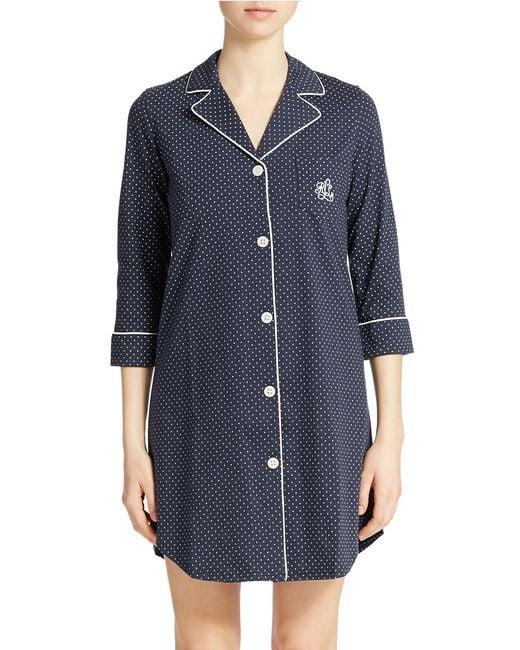 Lauren by Ralph Lauren | Blue Striped Sleepshirt | Lyst