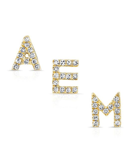 Anne Sisteron | Metallic 14kt Yellow Gold Diamond Alphabet Initial Stud Earring | Lyst