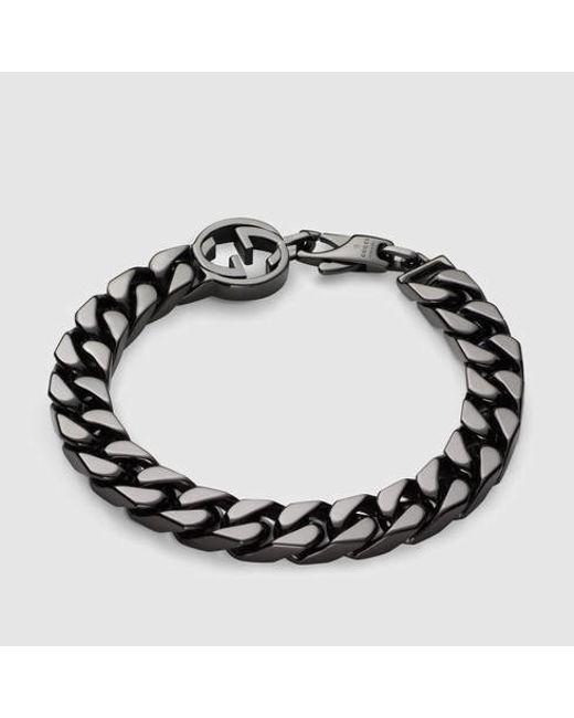 Gucci   Metallic Bracelet With Interlocking G for Men   Lyst