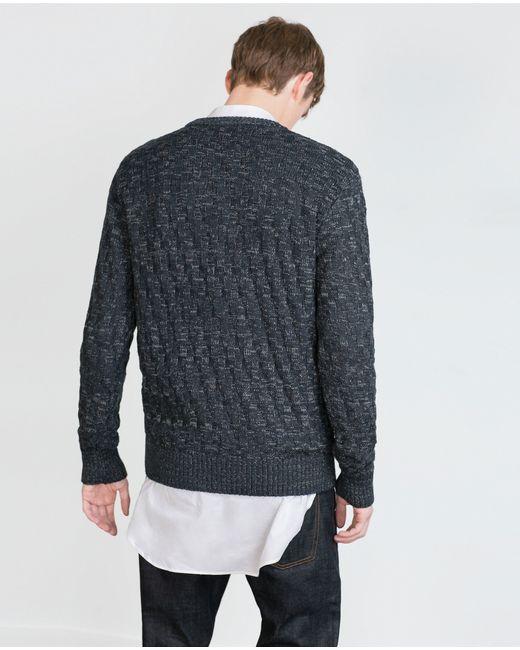 Zara   Blue Twist Knit Sweater for Men   Lyst
