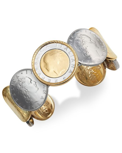 Macy's | Metallic Lira Coin Cuff Bracelet In 14k Gold Vermeil And Sterling Silver | Lyst