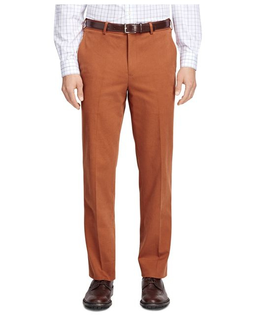 Brooks Brothers | Orange Fitzgerald Fit Brushed Twill Trousers for Men | Lyst