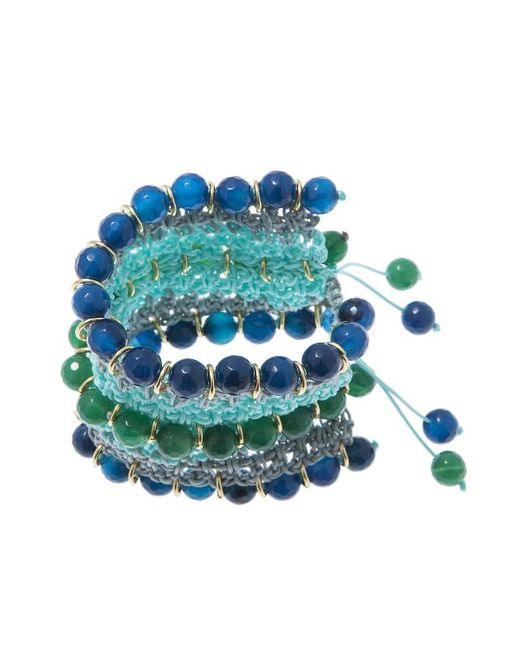 Pink Powder - Green & Blue Agate Crochet Bracelet - Lyst