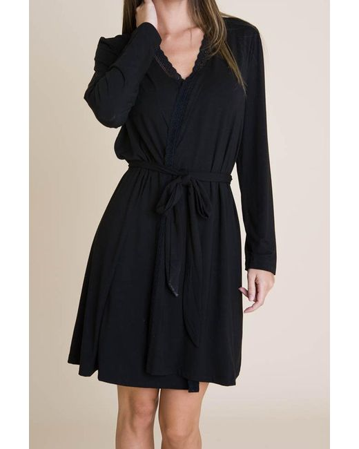 Eberjey - Gisele Classic Robe - Black - Lyst