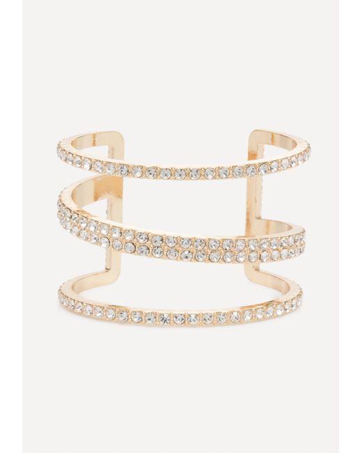 Bebe - Metallic Crystal Triple Bar Cuff - Lyst