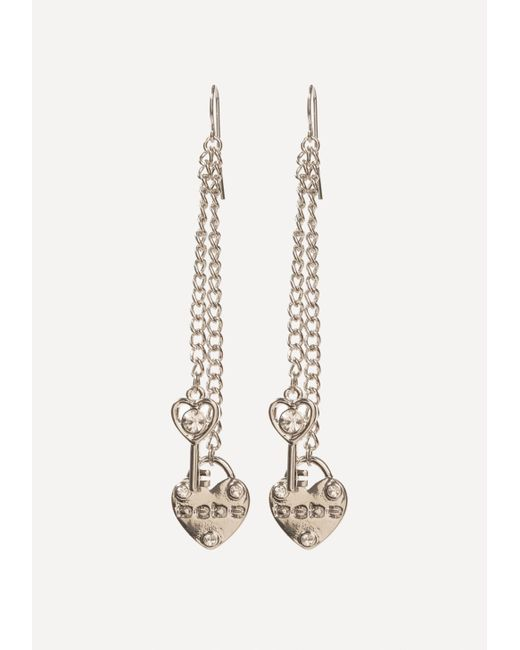 Bebe - Metallic Logo Heart Earrings - Lyst