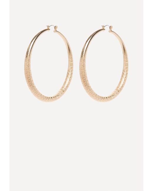 Bebe | Metallic Textured Hoop Earrings | Lyst