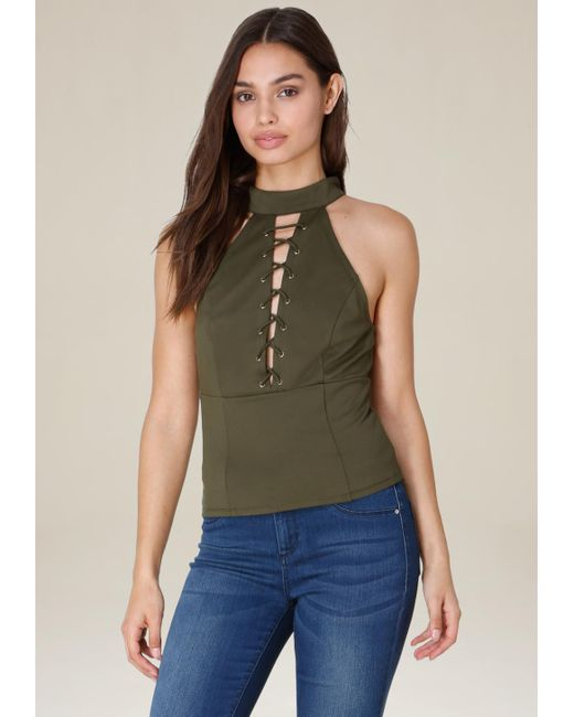 Bebe | Green Mock Neck Lace Up Top | Lyst
