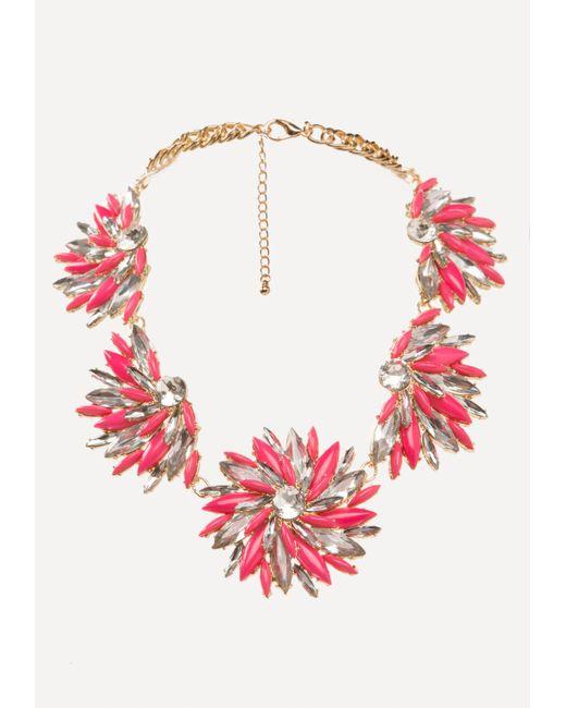 Bebe | Pink Floral Statement Necklace | Lyst