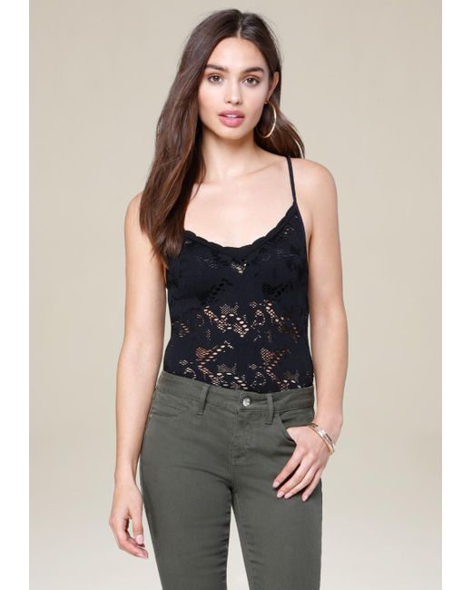 Bebe | Black Lace Strappy Bodysuit | Lyst