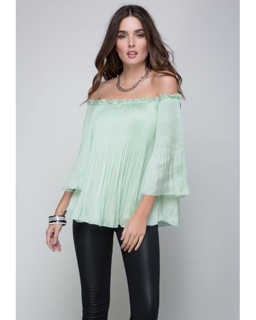 Bebe | Green Pleated Peasant Top | Lyst