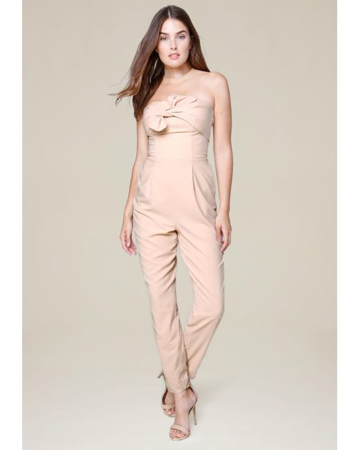 Bebe   Pink Bow Trim Strapless Jumpsuit   Lyst
