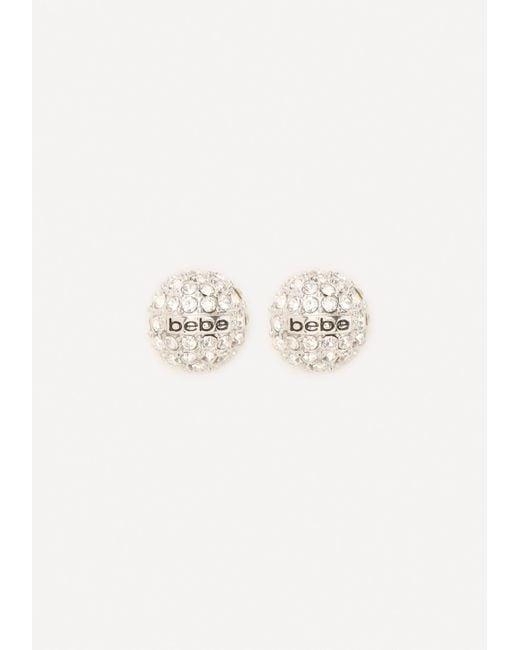 Bebe | Metallic Logo Pave Stud Earrings | Lyst