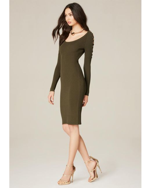 Bebe | Green Ribbed Lace Up Sleeve Dress | Lyst