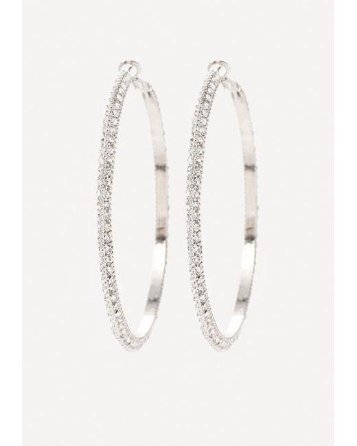 Bebe | Metallic Crystal Hoop Earrings | Lyst