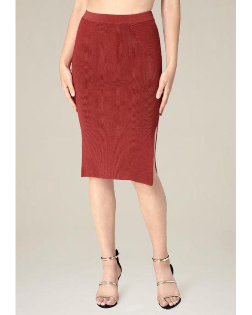 Bebe | Red Ribbed Midi Skirt | Lyst