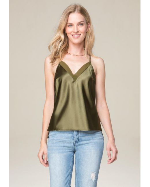 Bebe | Green Charmeuse V-neck Tank | Lyst