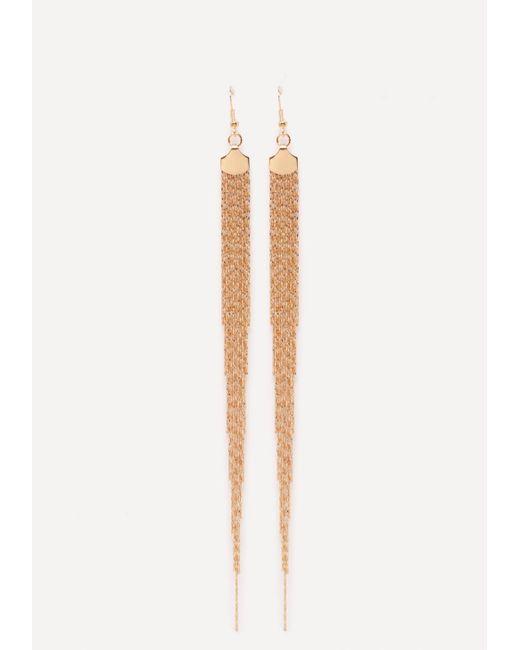 Bebe   Metallic Fringe Duster Earrings   Lyst