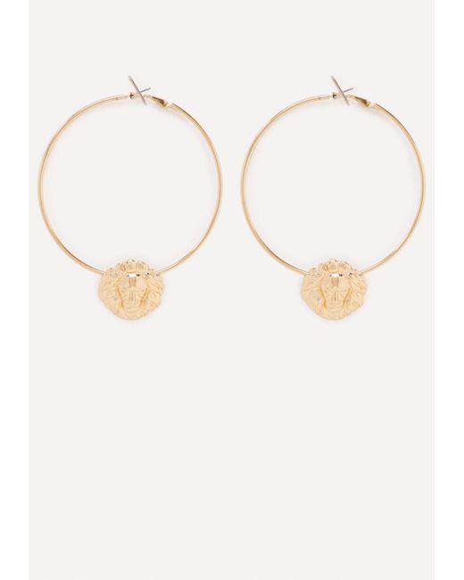 Bebe | Metallic Lion Hoop Earrings | Lyst