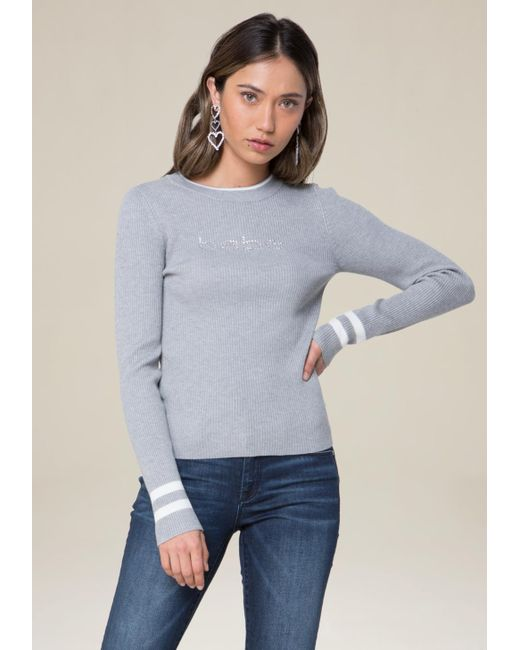 Bebe | Gray Logo Sporty Ribbed Sweater | Lyst