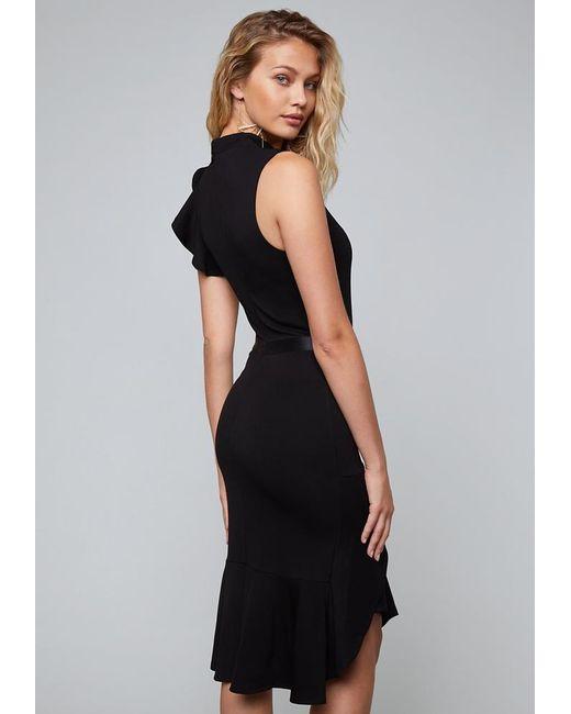8510d44b306 ... Bebe - Black Jersey Ruffled Midi Dress - Lyst ...