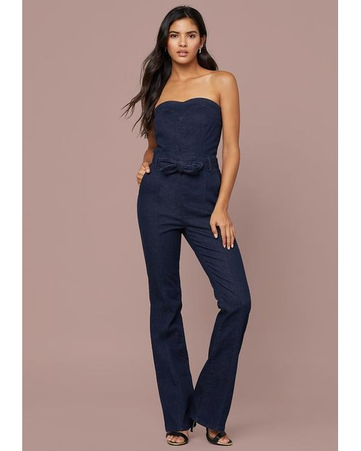 47a96e29d6e2 Bebe - Blue Denim Sweetheart Jumpsuit - Lyst ...