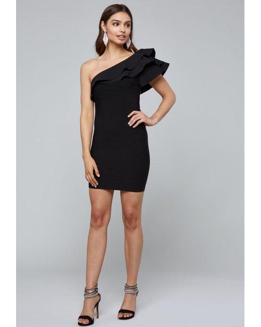 Bebe - Black One Shoulder Bandage Dress - Lyst