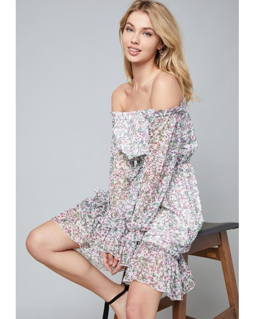 Bebe - Gray Dakota Off Shoulder Dress - Lyst