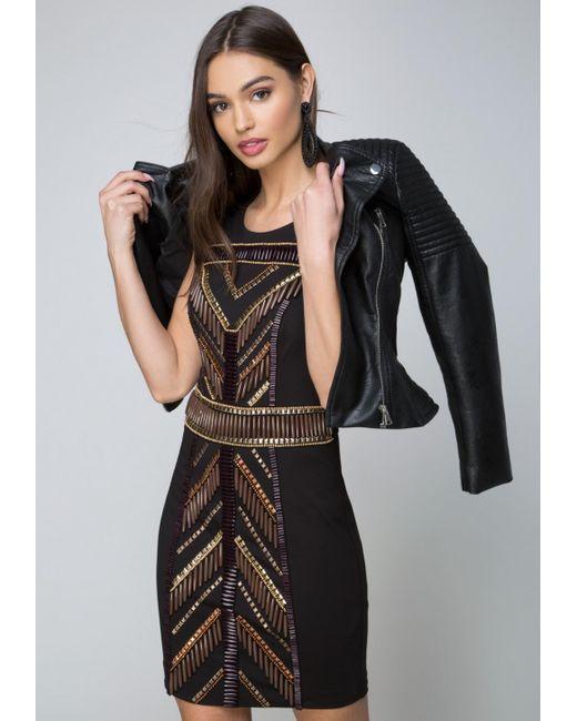 Bebe - Black Embellished Dress - Lyst