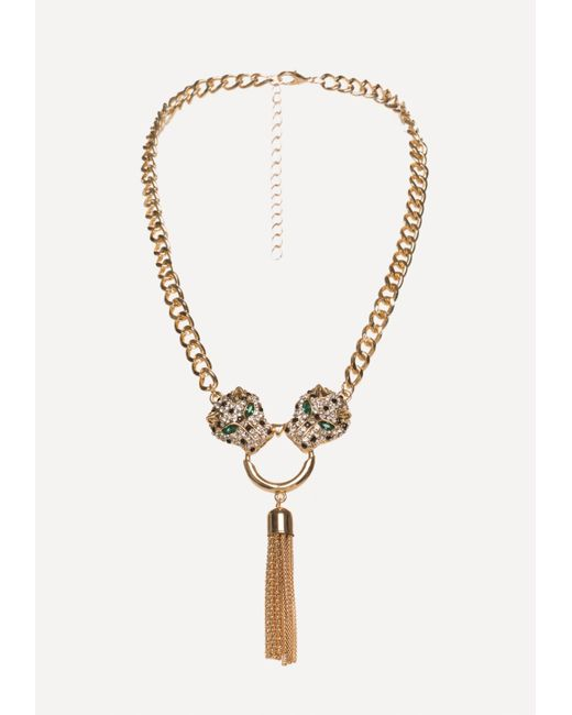 Bebe | Metallic Leopard Head Necklace | Lyst